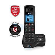 BT DECT Black Telephone with Nuisance call blocker & answer machine - Single
