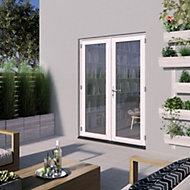 1 Lite Glazed White Hardwood External French Door set, (H)2094mm (W)1494mm