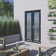 1 Lite Glazed Grey Hardwood External French Door set, (H)2094mm (W)1194mm