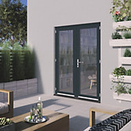 1 Lite Glazed Grey Hardwood External French Door set, (H)2094mm (W)1494mm
