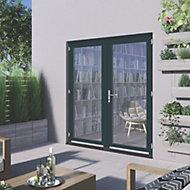 1 Lite Glazed Grey Hardwood External French Door set, (H)2094mm (W)1794mm