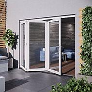 Glazed White Hardwood External Patio Door set, (H)2104mm (W)2404mm