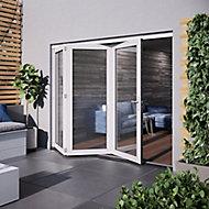 Jeld-Wen Bedgebury Clear Glazed White Hardwood Reversible External Folding Patio Door set, (H)2094mm (W)2394mm
