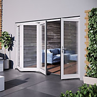 Glazed White Hardwood External Patio Door set, (H)2104mm (W)3004mm