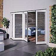 Jeld-Wen Bedgebury Clear Glazed White Hardwood Reversible External Folding Patio Door set, (H)2094mm (W)2994mm
