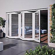 Jeld-Wen Bedgebury Clear Glazed White Hardwood Reversible External Folding Patio Door set, (H)2094mm (W)3594mm