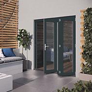 Glazed Grey Hardwood External Patio Door set, (H)2104mm (W)1804mm