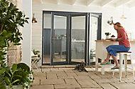 Jeld-Wen Bedgebury Clear Glazed Grey Hardwood Reversible External Folding Patio Door set, (H)2094mm (W)2394mm