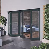 Glazed Grey Hardwood External Patio Door set, (H)2104mm (W)3004mm