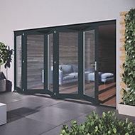 Glazed Grey Hardwood External Patio Door set, (H)2104mm (W)3504mm