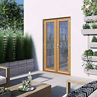 1 Lite Glazed Hardwood External French Door set, (H)2094mm (W)1194mm