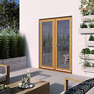 1 Lite Glazed Hardwood External French Door set, (H)2094mm (W)1494mm
