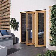 Glazed Golden Oak External Patio Door set, (H)2104mm (W)1804mm