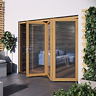 Glazed Golden Oak External Patio Door set, (H)2104mm (W)2404mm