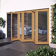 Glazed Golden Oak External Patio Door set, (H)2104mm (W)3504mm