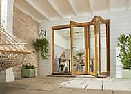Jeld-Wen Kinsley Clear Glazed Golden Oak Reversible External Folding Patio Door set, (H)2094mm (W)3594mm