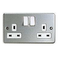 MK 13A Grey 2 gang Switched Metal-clad socket