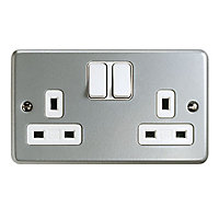 MK 13A Grey 2 gang Switched Metal-clad socket