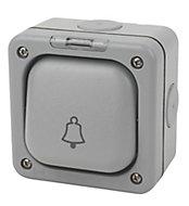 MK 10A 1 way Grey Bell Switch