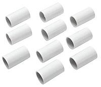 MK White 20mm Trunking coupler, Pack of 10