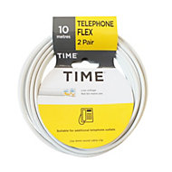 Time White 4 core Telephone cable, 10m, Pack of 2