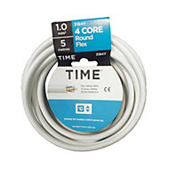Time 3184Y White 4 core Multi-core cable 1mm² x 5m