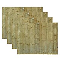 Grange Featheredge Vertical slat Fence panel 1.83m 1.8m, Pack of 4