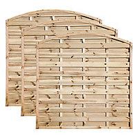Grange Elite Horizontal slat Fence panel (W)1.8m (H)1.8m, Pack of 3
