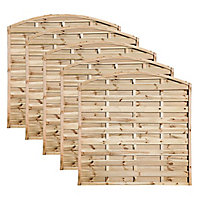 Grange Elite Domed top Horizontal slat Fence panel (W)1.8 m (H)1.8m, Pack of 5