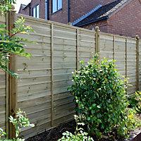 Grange Overlap Horizontal slat Fence panel (W)1.83 m (H)1.8m, Pack of 5