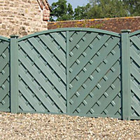 Grange St Lunair Diagonal slat Fence panel 1.8m 1.2m, Pack of 10