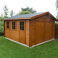 13x12 Bradenham Wooden Garage with felt roof tiles With assembly service