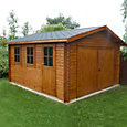 13x15 Bradenham Wooden Garage with felt roof tiles With assembly service