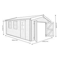 17x14 Bradenham Wooden Garage with felt roof tiles