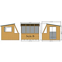 Shire Iceni 8x8 Pent Shiplap Wooden Shed - Assembly service included