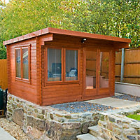 Shire Danbury 12x8 Pent Tongue & groove Wooden Cabin - Assembly service included