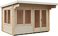 Shire Danbury 12x12 Pent Tongue & groove Wooden Cabin - Assembly service included