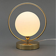 Inlight Holt Hoop Satin Brass & opal Table lamp