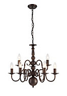 Manning Chandelier Bronze effect 9 Lamp Ceiling light