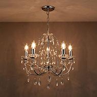 Zinnia Polished Chrome effect 5 Lamp Chandelier Ceiling light