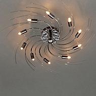 Yarrow Spiral Brushed Black Chrome effect 10 Lamp Ceiling light