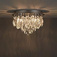 Rosie Brushed Chrome effect 3 Lamp Flush Ceiling light