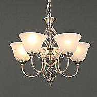 Rolli Brushed Nickel effect 5 Lamp Ceiling light