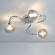 Ersa Cracked glass Chrome effect 3 Lamp Ceiling light