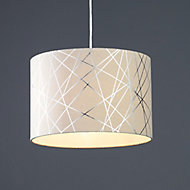 Carme Mocha Silver effect Drum Light shade (D)300mm