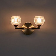 Steyning Antique brass effect Double Wall light