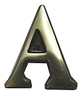 The House Nameplate Company Polished Brass Self-adhesive House letter A, (H)50mm (W)30mm