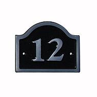 Black Aluminium 120mm House plate number 12
