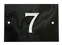 The House Nameplate Company Black & white Slate Rectangular House number 7, (H)102mm (W)140mm