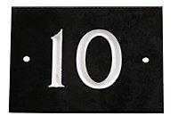 Black & white Slate Rectangle 102mm House plate number 10